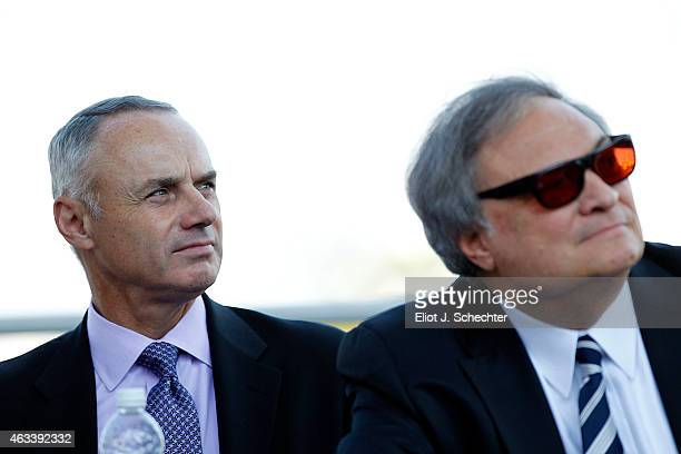 Commissioner of Major League Baseball Robert D Manfred Jr and Miami Marlins wner Jeffrey Loria look on during the press conference announcing the...