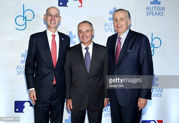 Commissioner of NBA Adam Silver commissioner of MLB Rob Manfred and former commissioner of the NFL Paul Tagliabue attend Lead Off For A Cure Autism...