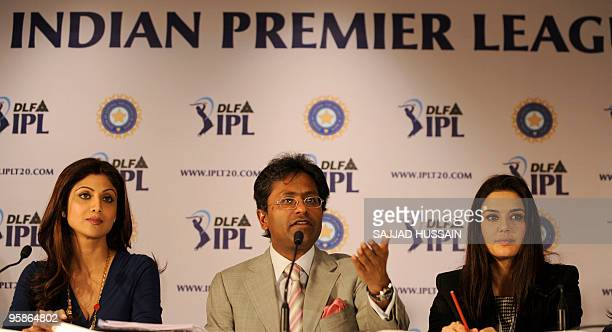 Commissioner of the Indian Premier League Lalit Kumar Modi coowner of 'Kings XI Punjab' Priety Zinta and coowner of 'Rajasthan Royals' Shilpa Shetty...