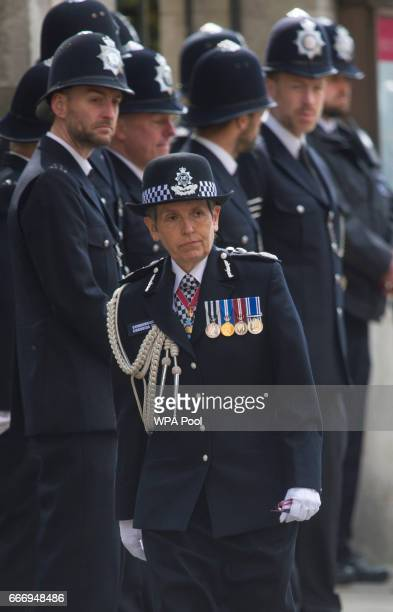 Commissioner of the Metropolitan Police Cressida Dick arrives for the funeral service of PC Keith Palmer at Southwark Cathedral on April 10 2017 in...