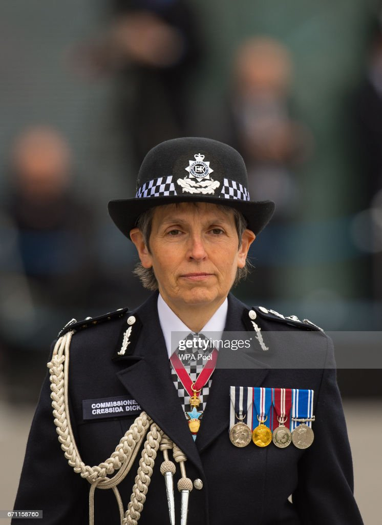 Commissioner of the Metropolitan Police Cressida Dick attends her first passing-out parade at the Metropolitan Police Academy at Peel House, Hendon on April 21, 2017 in London, England.