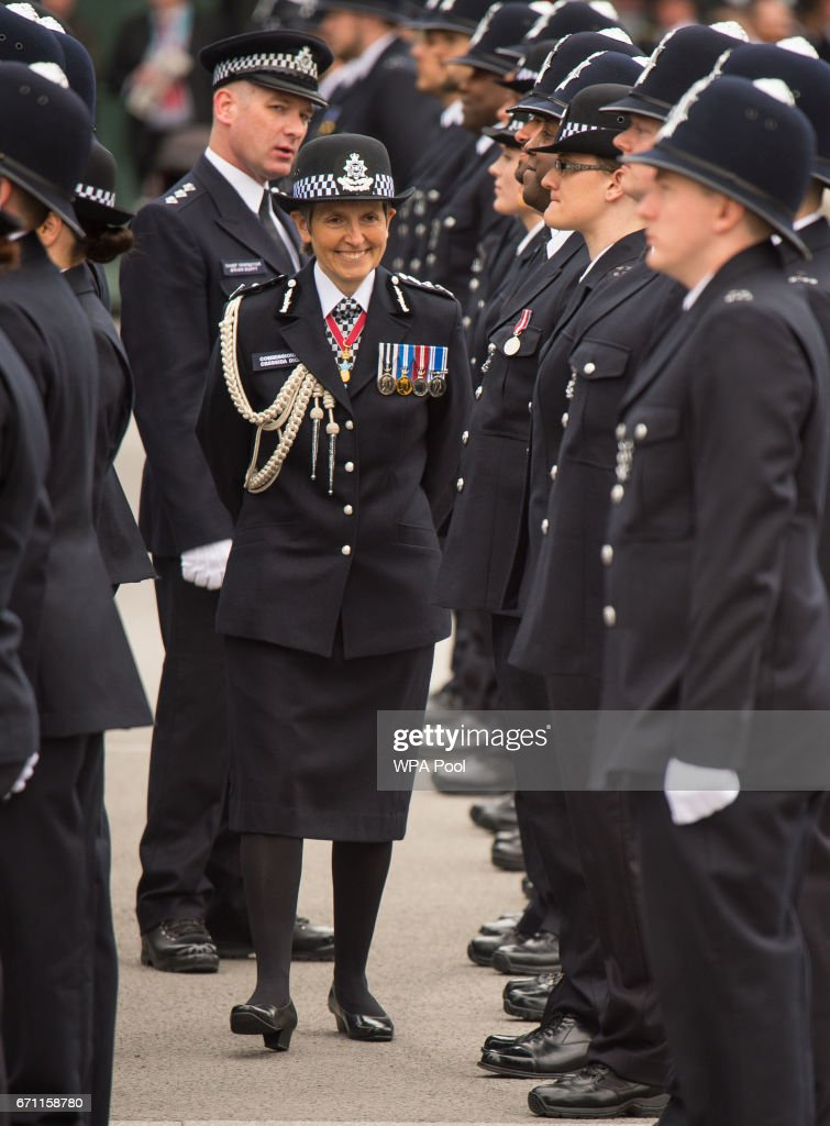 Commissioner of the Metropolitan Police Cressida Dick inspects new officers as she attends her first passing-out parade at the Metropolitan Police Academy at Peel House, Hendon on April 21, 2017 in London, England.