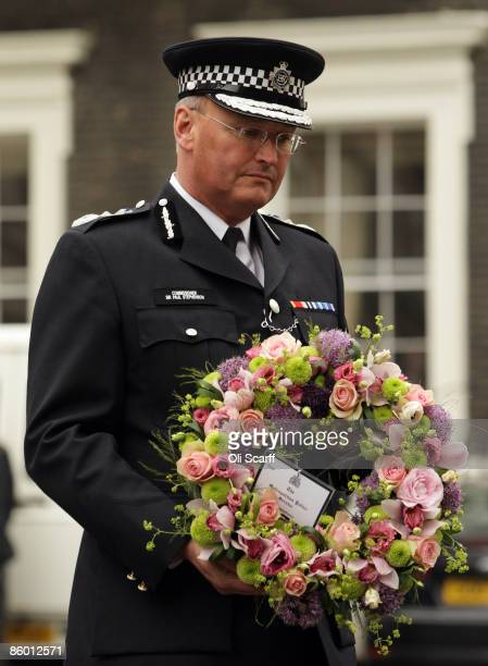 Commissioner of the Metropolitan Police Sir Paul Stephenson lays a wreath at a ceremony to mark the 25th anniversary of the killing of WPC Yvonne...