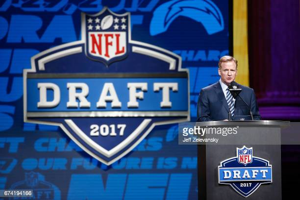 Commissioner of the National Football League Roger Goodell speaks during the first round of the 2017 NFL Draft at the Philadelphia Museum of Art on...