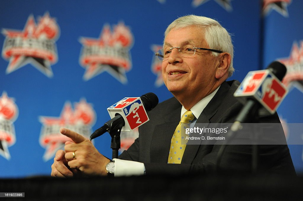 Commissioner of the NBA David Stern addresses the media before State Farm All-Star Saturday Night of the 2013 NBA All-Star Weekend on February 16, 2013 at the Toyota Center in Houston, Texas.