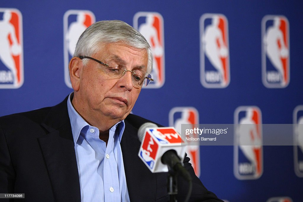 Commissioner of the NBA, <a gi-track='captionPersonalityLinkClicked' href=/galleries/search?phrase=David+Stern&family=editorial&specificpeople=206848 ng-click='$event.stopPropagation()'>David Stern</a> announces that a lockout will go ahead as NBA labor negotiations break down at Omni Hotel on June 30, 2011 in New York City. The NBA has locked out the players after they were unable to reach a new collective bargaining agreement (CBA). The current CBA is due to expire tonight at midnight.