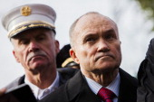 Commissioner of the New York City Police Department Ray Kelly speaks to the media as Fire Department of New York Chief Edward Kilduff looks on after...