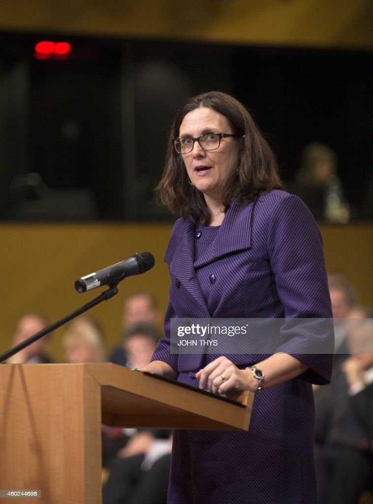 EU Commissioner of Trade Cecilia Malmstrom, takes the oath of office, on December 10, 2014 at the Court of Justice of the European Union in Luxembourg.
