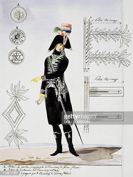 Commissioner officer drawing Italy 18th century