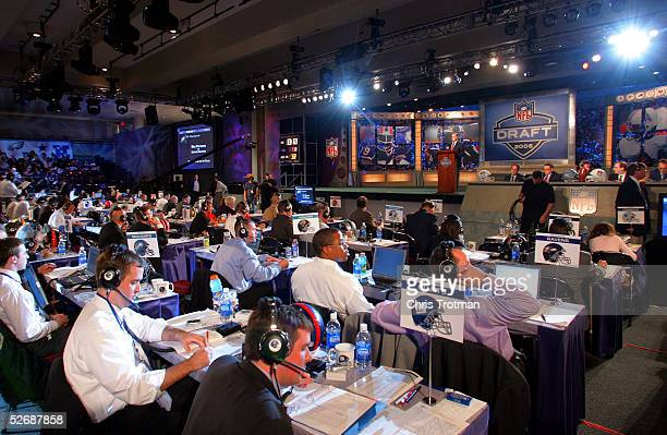 Commissioner Paul Tagliabue speaks at the podium during the 70th NFL Draft on April 23 2005 at the Jacob K Javits Convention Center in New York City