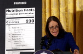 Commissioner Peggy Hamburg announces proposed changes to food labels during an event in the East Room of the White House February 27 2014 in...
