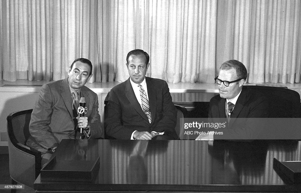 Commissioner Pete Rozelle and ABC Sports chief Roone Arledge announce the creation of 'Monday Night Football,' which has become the longest running prime-time sports program in television history, 5/27/69. They are joned by Howard Cosell, reporting for WABC in New York.
