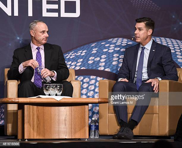 Commissioner Rob Manfred and Billy Bean Ambassador for Inclusion MLB attend Beyond Sport United 2015 on July 22 2015 in Newark City