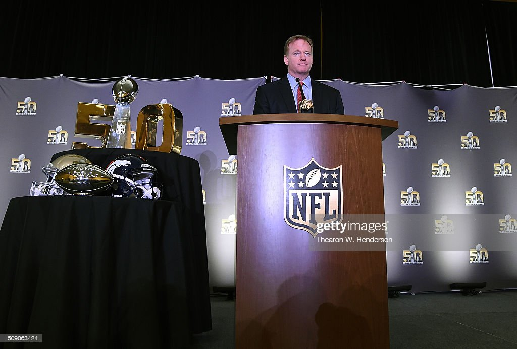 NFL commissioner <a gi-track='captionPersonalityLinkClicked' href=/galleries/search?phrase=Roger+Goodell&family=editorial&specificpeople=744758 ng-click='$event.stopPropagation()'>Roger Goodell</a> addresses the media during the Super Bowl 50 MVP trophy presentation at the Moscone Center West on February 8, 2016 in San Francisco, California. Von Miller #58 of the Broncos was the games MVP.