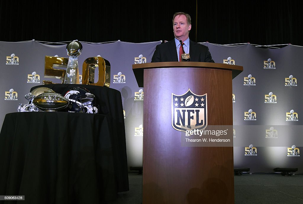 NFL commissioner Roger Goodell addresses the media during the Super Bowl 50 MVP trophy presentation at the Moscone Center West on February 8, 2016 in San Francisco, California. Von Miller #58 of the Broncos was the games MVP.