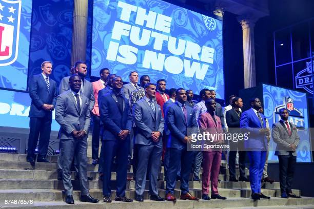 Commissioner Roger Goodell and the invited attendees to the 2017 NFL Draft at the NFL Draft Theater on April 27 2017 in Philadelphia PA