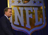 NFL Commissioner Roger Goodell arrives for the Super Bowl 50 press conference February 5 2016 at the Moscone Convention Center in San Francisco...