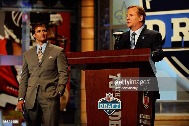 Commissioner Roger Goodell introduces Drew Brees of the New Orleans Saints during the first round of the 2010 NFL Draft at Radio City Music Hall on...