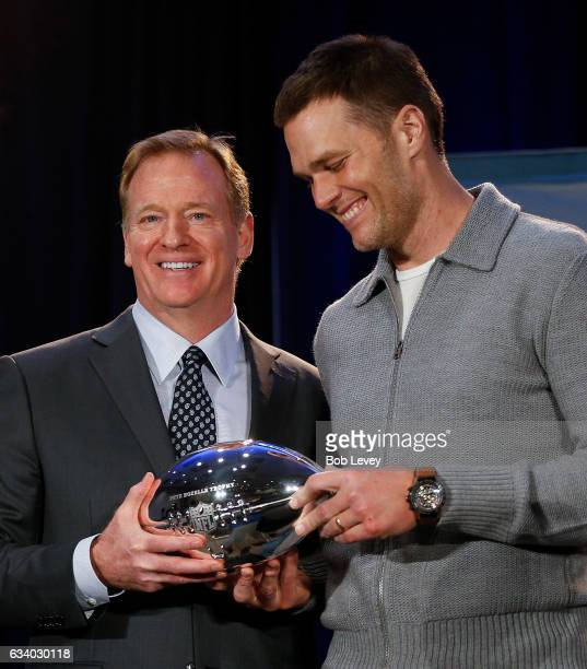 Commissioner Roger Goodell left and New England Patriots' Tom Brady with the Pete Rozelle MVP Trophy during the Super Bowl Winner and MVP press...