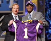 NFL Commissioner Roger Goodell left with Adrian Peterson RB out of Oklahoma chosen seventh by the Minnesota Vikings during the NFL draft at Radio...