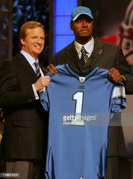 NFL Commissioner Roger Goodell left with Calvin Johnson WR out of Georgia Tech chosen number two by the Detroit Lions during the NFL draft at Radio...