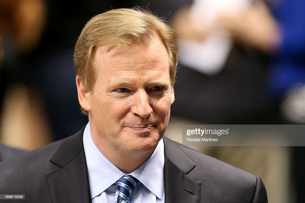 Commissioner Roger Goodell looks on from the field during Super Bowl XLVII between the San Francisco 49ers and the Baltimore Ravens at the Mercedes-Benz Superdome on February 3, 2013 in New Orleans, Louisiana.