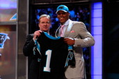 COmmissioner Roger Goodell poses for a photo with Carolina Panthers overall pick Cam Newton from Auburn during the 2011 NFL Draft at Radio City Music...