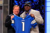 Commissioner Roger Goodell poses for a photo with Nick Fairley #13 overall pick by the Detroit Lions during the 2011 NFL Draft at Radio City Music...