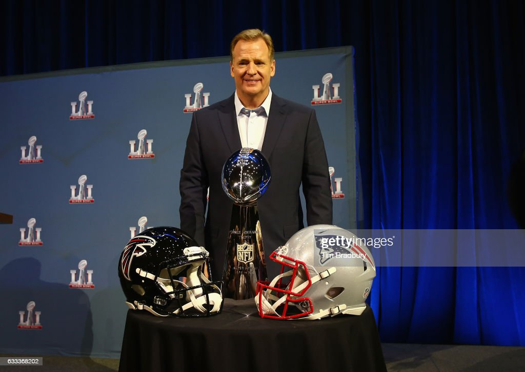Commissioner Roger Goodell poses with the Vince Lombardi Trophy after speaking with the media during a press conference for Super Bowl 51 at the George R. Brown Convention Center on February 1, 2017 in Houston, Texas.