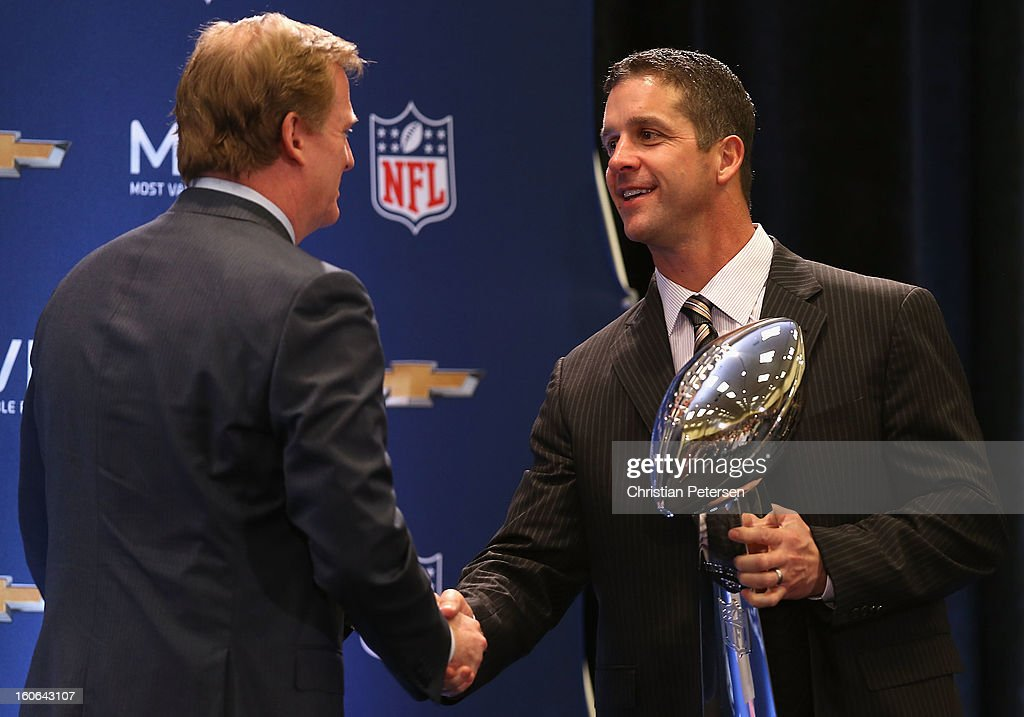 NFL Commissioner <a gi-track='captionPersonalityLinkClicked' href=/galleries/search?phrase=Roger+Goodell&family=editorial&specificpeople=744758 ng-click='$event.stopPropagation()'>Roger Goodell</a> shakes hands with head coach <a gi-track='captionPersonalityLinkClicked' href=/galleries/search?phrase=John+Harbaugh&family=editorial&specificpeople=763525 ng-click='$event.stopPropagation()'>John Harbaugh</a> of the Baltimore Ravens during the Super Bowl XLVII Team Winning Coach and MVP Press Conference at the Ernest N. Morial Convention Center on February 4, 2013 in New Orleans, Louisiana.