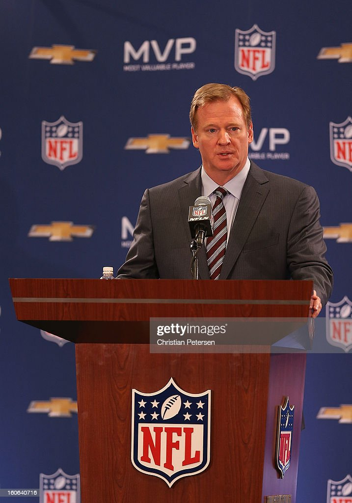 Commissioner Roger Goodell speaks during the Super Bowl XLVII Team Winning Coach and MVP Press Conference at the Ernest N. Morial Convention Center on February 4, 2013 in New Orleans, Louisiana.