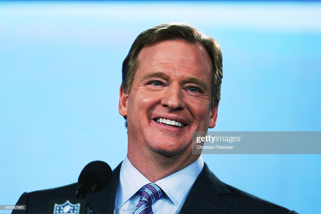 Commissioner <a gi-track='captionPersonalityLinkClicked' href=/galleries/search?phrase=Roger+Goodell&family=editorial&specificpeople=744758 ng-click='$event.stopPropagation()'>Roger Goodell</a> speaks to the media during a press conference for Super Bowl XLVII at the Ernest N. Morial Convention Center on February 1, 2013 in New Orleans, Louisiana.