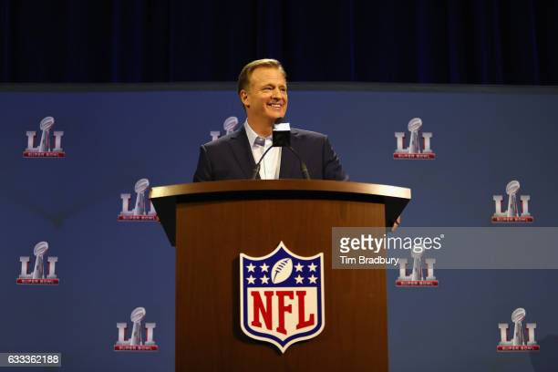 Commissioner Roger Goodell speaks with the media during a press conference for Super Bowl 51 at the George R Brown Convention Center on February 1...