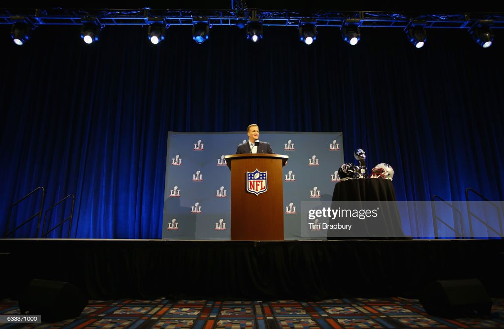 Commissioner Roger Goodell speaks with the media during a press conference for Super Bowl 51 at the George R. Brown Convention Center on February 1, 2017 in Houston, Texas.