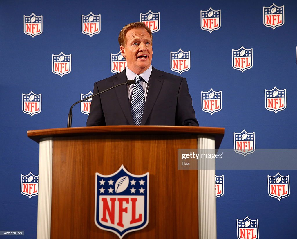 Commissioner <a gi-track='captionPersonalityLinkClicked' href=/galleries/search?phrase=Roger+Goodell&family=editorial&specificpeople=744758 ng-click='$event.stopPropagation()'>Roger Goodell</a> talks during a press conference at the Hilton Hotel on September 19, 2014 in New York City. Goodell spoke about the NFL's failure to address domestic violence, sexual assault and drug abuse in the league.
