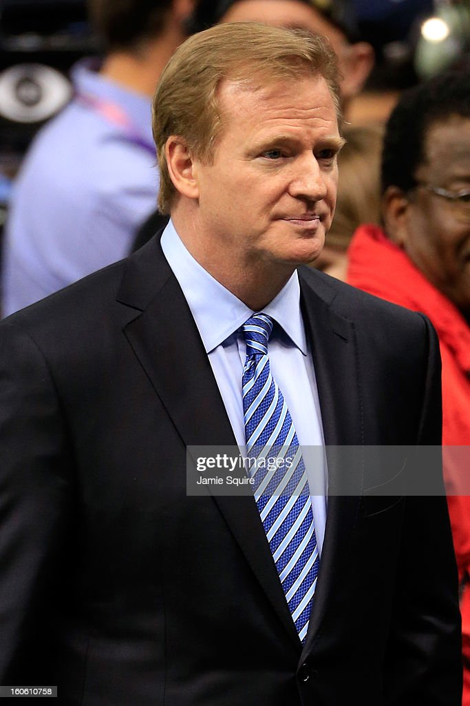 NFL Commissioner Roger Goodell walks on the field during warm ups prior to Super Bowl XLVII between the Baltimore Ravens and the San Francisco 49ers at the Mercedes-Benz Superdome on February 3, 2013 in New Orleans, Louisiana.