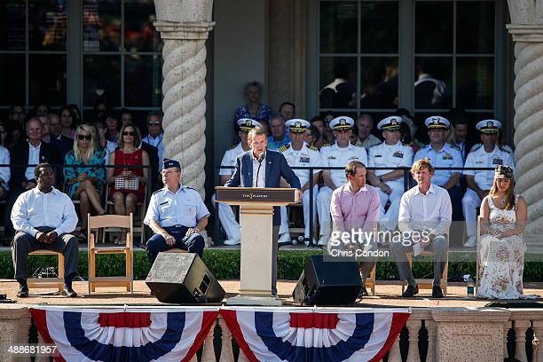 Commissioner Tim Finchem speaks during THE PLAYERS Championship Military Appreciation Day Ceremony on THE PLAYERS Stadium Course at TPC Sawgrass on...