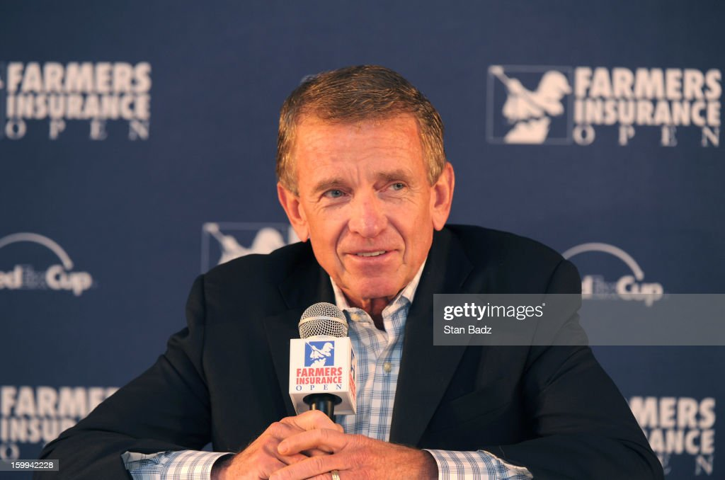 Commissioner <a gi-track='captionPersonalityLinkClicked' href=/galleries/search?phrase=Tim+Finchem&family=editorial&specificpeople=794264 ng-click='$event.stopPropagation()'>Tim Finchem</a> speaks to the media at the Farmers Insurance Open at Torrey Pines Golf Course on January 23, 2013 in La Jolla, California.