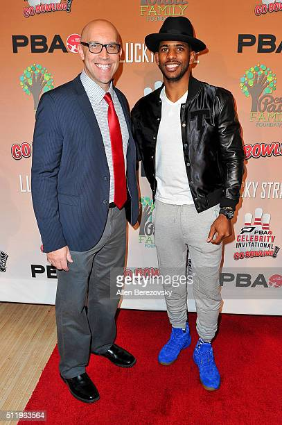 PBA commissioner Tom Clark and NBA star Chris Paul attend the CP3 PBA Celebrity Invitational Charity Bowling Tournament presented by GoBowlingcom at...