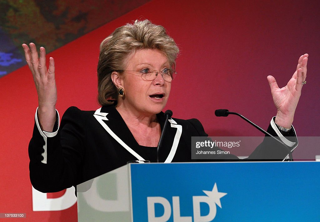 EU Commissioner <a gi-track='captionPersonalityLinkClicked' href=/galleries/search?phrase=Viviane+Reding&family=editorial&specificpeople=240083 ng-click='$event.stopPropagation()'>Viviane Reding</a> speaks during the Digital Life Design conference (DLD) at HVB Forum on January 22, 2012 in Munich, Germany. DLD (Digital - Life - Design) is a global conference network on innovation, digital, science and culture which connects business, creative and social leaders, opinion-formers and investors for crossover conversation and inspiration.