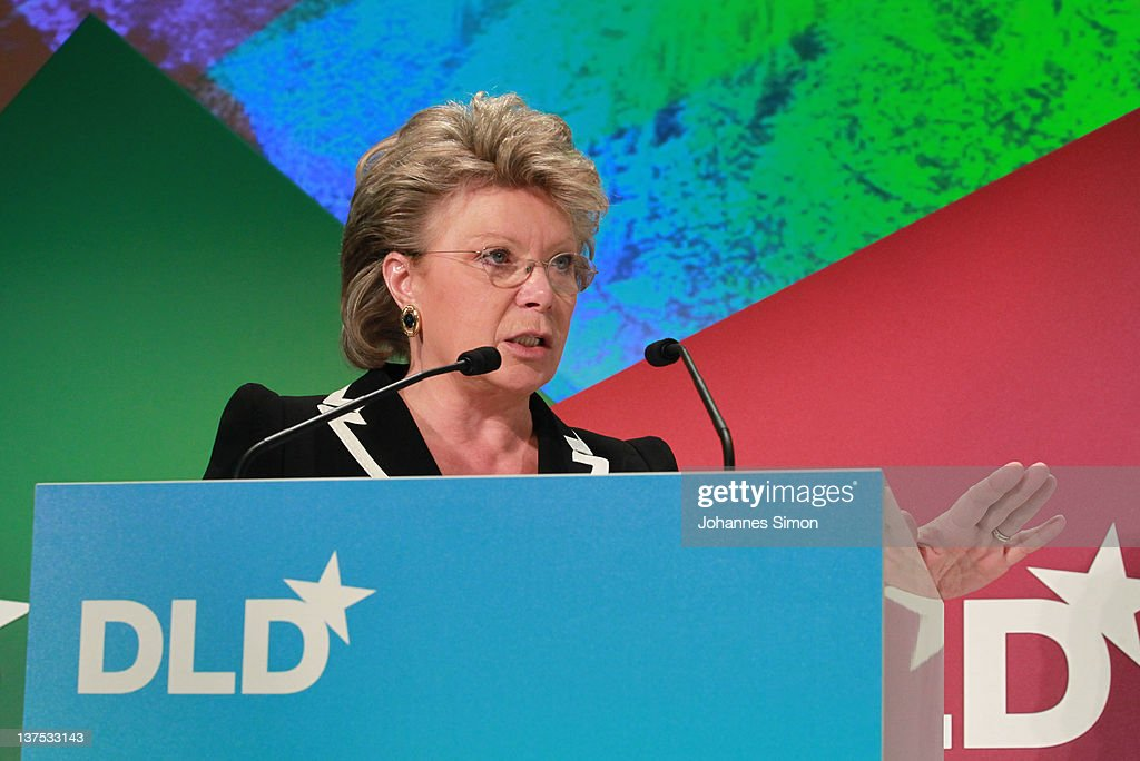 EU Commissioner Viviane Reding speaks during the Digital Life Design conference (DLD) at HVB Forum on January 22, 2012 in Munich, Germany. DLD (Digital - Life - Design) is a global conference network on innovation, digital, science and culture which connects business, creative and social leaders, opinion-formers and investors for crossover conversation and inspiration.