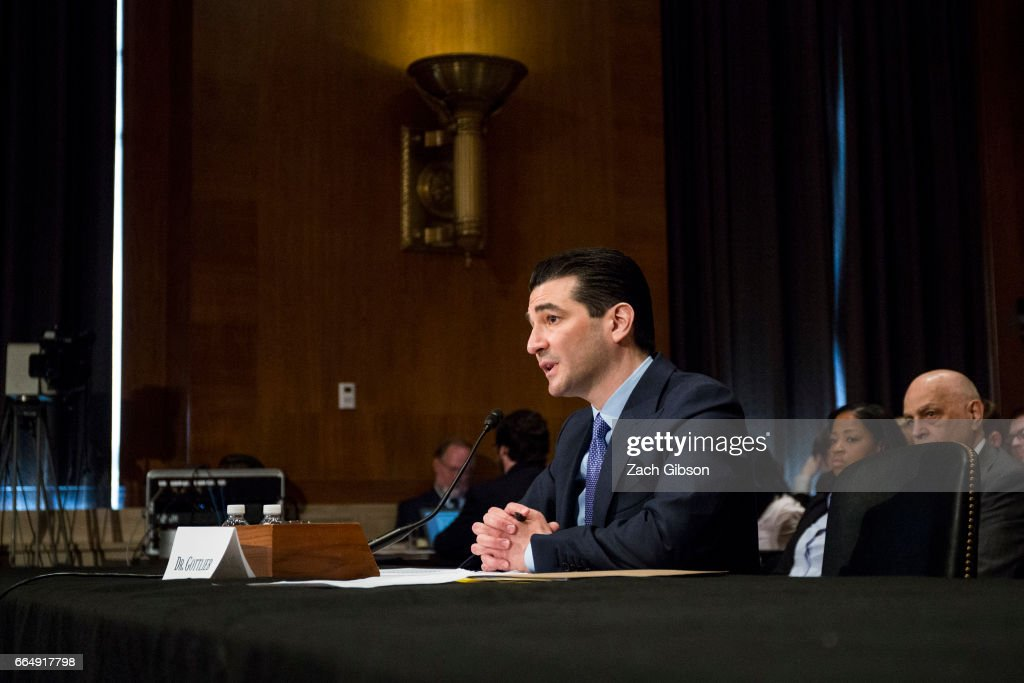 FDA Commissioner-designate Scott Gottlieb testifies during a Senate Health, Education, Labor and Pensions Committee hearing on April 5, 2017 at on Capitol Hill in Washington, D.C.