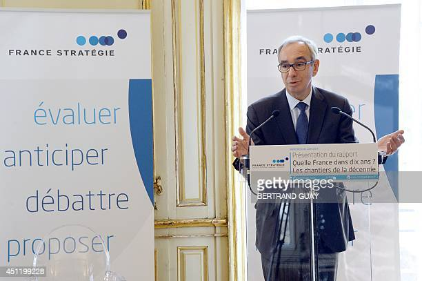 CommissionerGeneral of the French General Commission for Strategy and Economic Foresight Jean PisaniFerry speaks during the presentation of a report...
