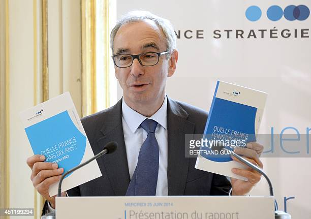 CommissionerGeneral of the French General Commission for Strategy and Economic Foresight Jean PisaniFerry holds a report entitled 'Which France in...