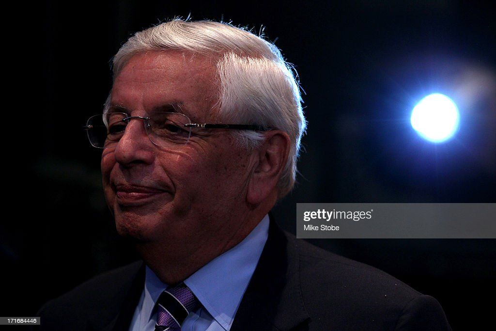 Commissoner <a gi-track='captionPersonalityLinkClicked' href=/galleries/search?phrase=David+Stern&family=editorial&specificpeople=206848 ng-click='$event.stopPropagation()'>David Stern</a> looks on prior to the start of the first round during the 2013 NBA Draft at Barclays Center on June 27, 2013 in in the Brooklyn Borough of New York City.