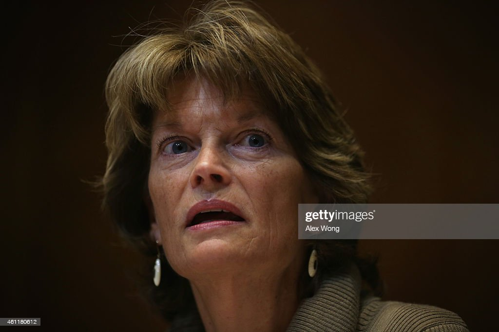 Committee chaiman US Sen Lisa Murkowski speaks duirng a markup hearing on Keystone XL pipeline before the Senate Energy and Natural Resources...