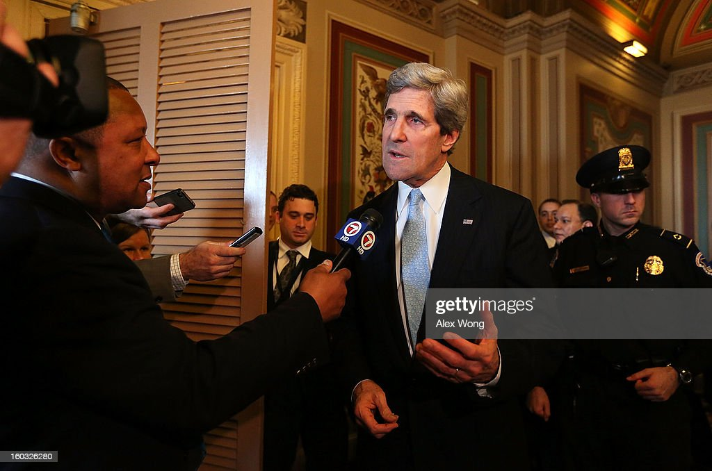 Committee Chairman and U.S. Sen. <a gi-track='captionPersonalityLinkClicked' href=/galleries/search?phrase=John+Kerry&family=editorial&specificpeople=154885 ng-click='$event.stopPropagation()'>John Kerry</a> (D-MA) speaks to the press after a mark up hearing before Senate Foreign Relations Committee to vote on the nomination of Kerry to be secretary of State January 29, 2013 on Capitol Hill in Washington, DC. The Senate panel has approved the nomination and it is expected the full Senate will pick up the vote today to confirm the nomination to succeed Hillary Clinton.
