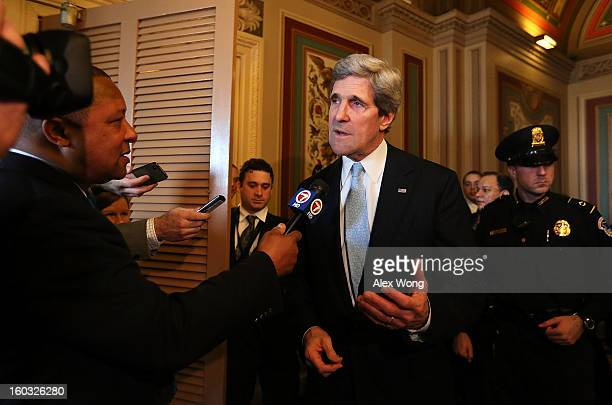 Committee Chairman and US Sen John Kerry speaks to the press after a mark up hearing before Senate Foreign Relations Committee to vote on the...
