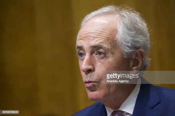 Committee Chairman Bob Corker questions David Friedman during the Senate Foreign Relations Committee hearing to decide whether or not to accept...