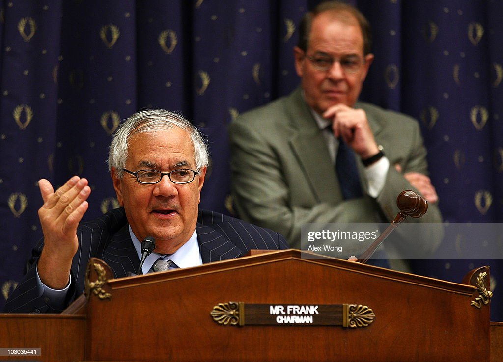 Committee Chairman Rep. <a gi-track='captionPersonalityLinkClicked' href=/galleries/search?phrase=Barney+Frank&family=editorial&specificpeople=216439 ng-click='$event.stopPropagation()'>Barney Frank</a> (D-MA) speaks during a hearing before the House Financial Services Committee July 22, 2010 on Capitol Hill in Washington, DC. Federal Reserve Board Chairman Ben Bernanke testified at the hearing on the 'Monetary Policy and the State of the Economy.'
